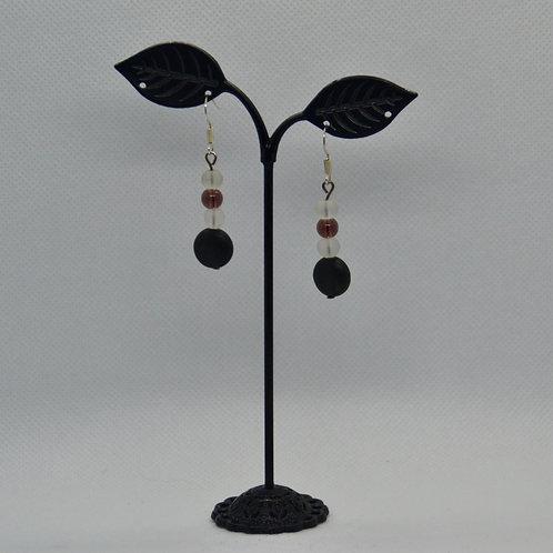 Purple, White, and Black Drop Earrings