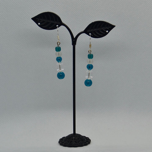Blue and White Long Drop Earrings
