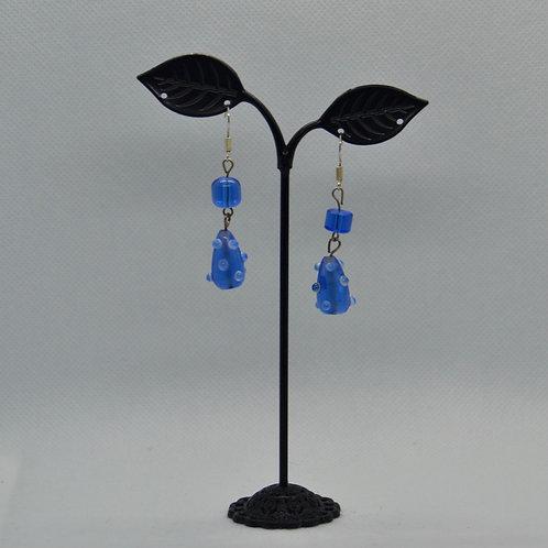 Blue Textured Two Segment Drop Earrings