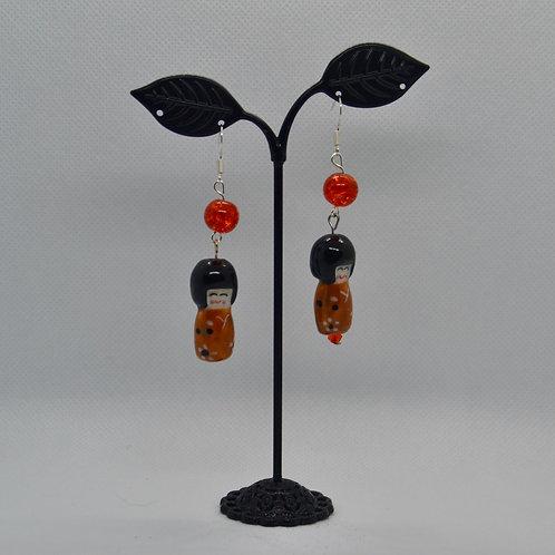Orange Porcelain Doll Earrings