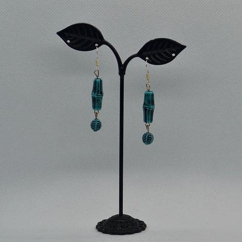 Blue Wooden Style Segmented Drop Earrings