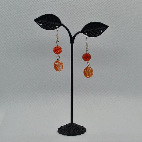 Orange Two Segment Drop Earrings