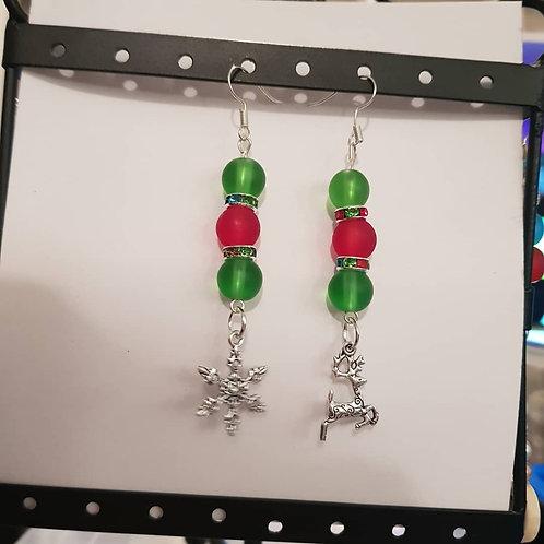 Asymetrical Christmas Drop Earrings