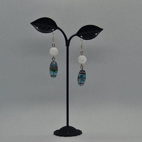 Fancy Beaded Two Segment Drop  Earrings