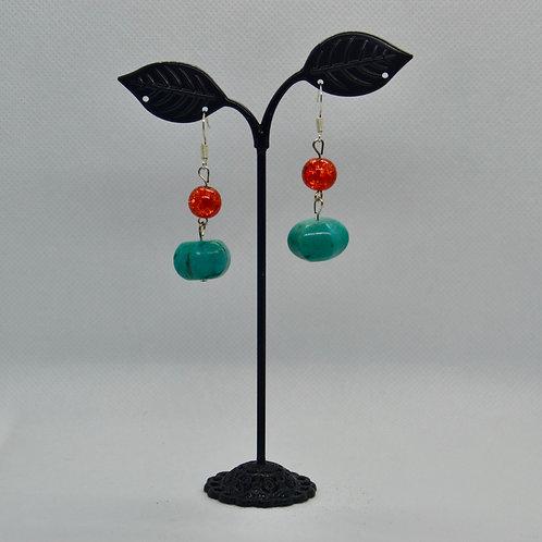 Orange and Turquoise Geometric Drop Earrings
