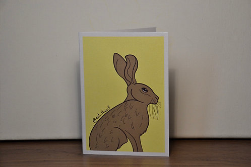 Sitting Hare A6 Printed Greetings Card