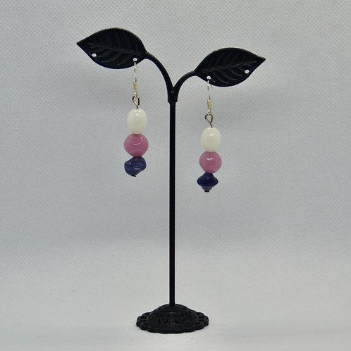 Pink and Purple Drop Earrings