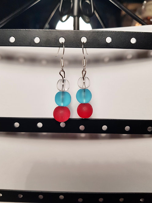 Red, Blue, and Clear Drop Earrings