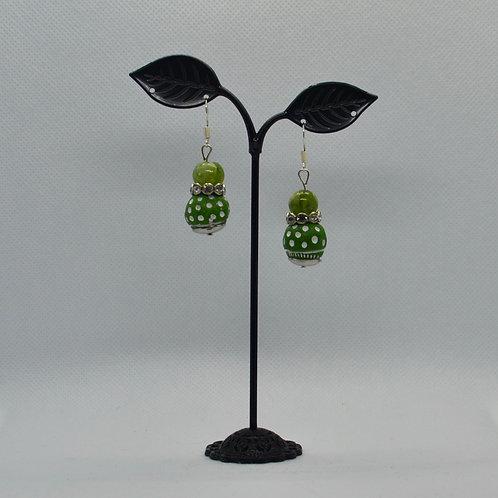 Green Small Drop Earrings