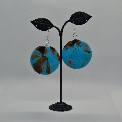 Chunky Blue and Brown Drop Earrings