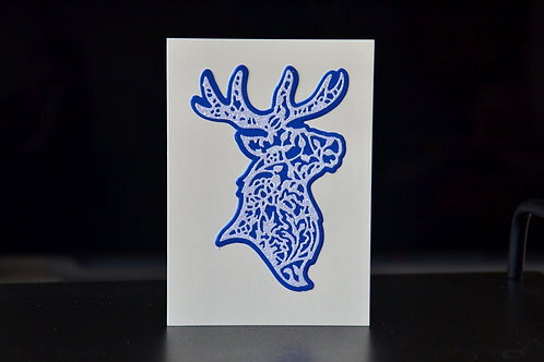 Fancy Filigree Deer Portrait - A6 Christmas Card