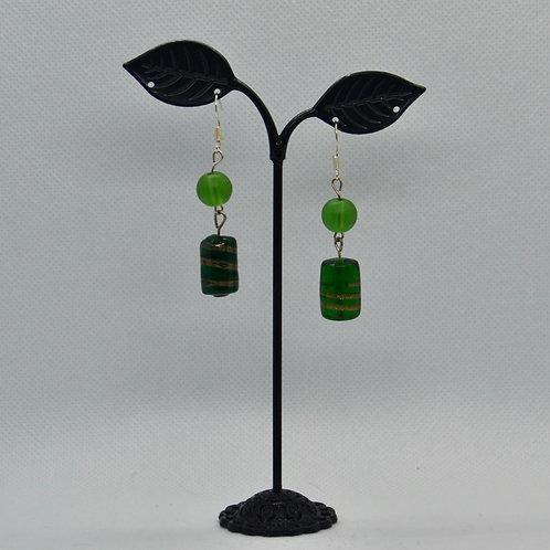 Green Two Segment Drop earrings