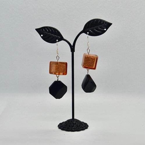 Copper and Black Geometric Drop Earrings