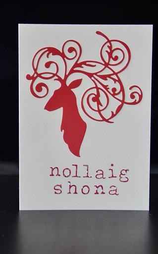 Filigree Deer and Christmas Sentiment (e.g. Nollaig Shona, Noel, or custom)