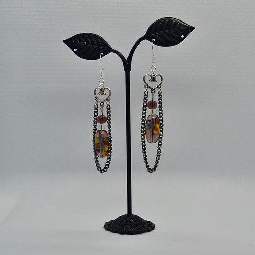 Purple Glass Bead and Chain Earrings
