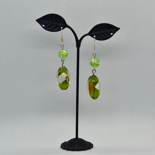 Chunky Green Two Segment Drop Earrings