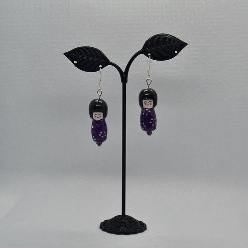 Purple Porcelain Doll Earrings