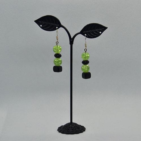 Black and Green Drop Earrings