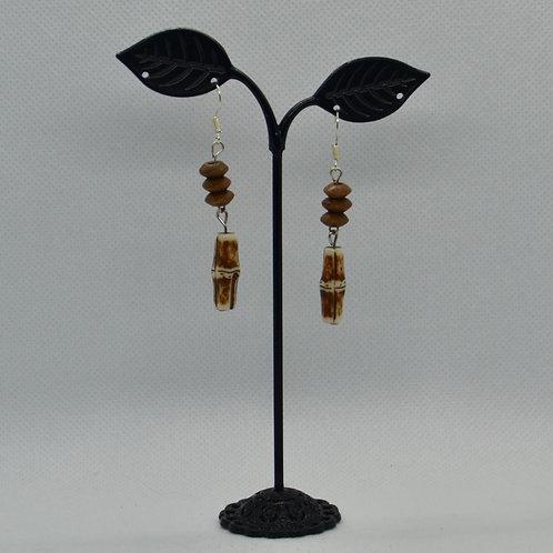 Wooden Segmented Drop Earrings
