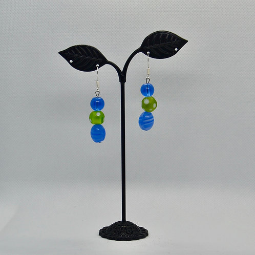 Bright Blue and Green Drop Earrings