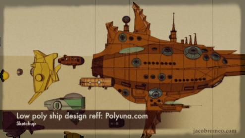 Polyuna low poly ship refference