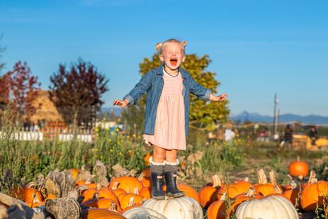 Girl on Pumpkin Stocker Farms