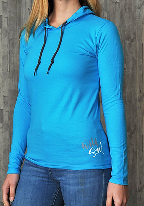 Women's 'Wild Soul' T-shirt Hoodie - Bright Blue (D30)