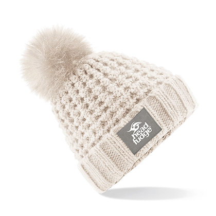 Chunky Knit Bobble (Removable) Beanie - CREAM (D59)