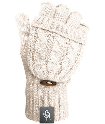 Wool Blend Fingerless Flip-top Mittens - CREAM (D60)