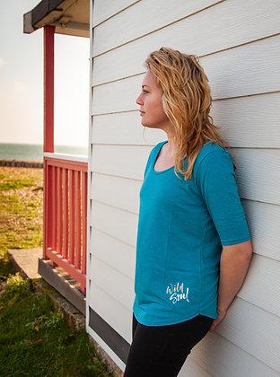 Women's 'Wild Soul' 3/4 Sleeve T-shirt - Petrol Blue (D24)
