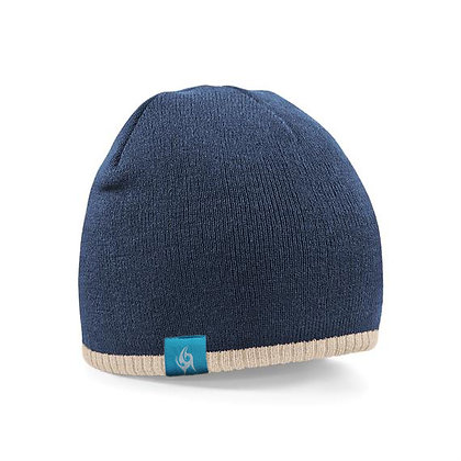 Two-tone Knitted Beanie - Navy/Stone (D35)