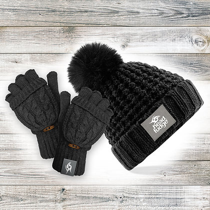 Black Beanie & Mitts Bundle (RRP £35.99)