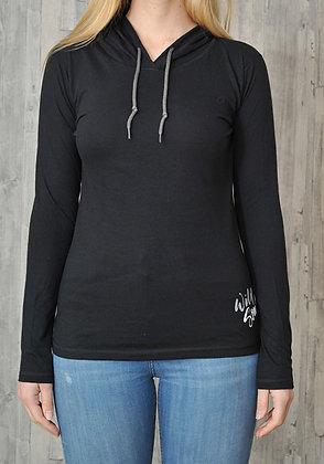 Women's 'Wild Soul' T-shirt Hoodie - Black (D30)