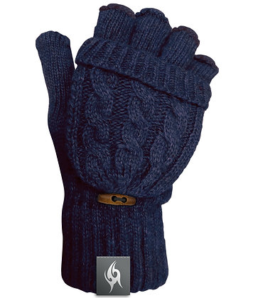 Wool Blend Fingerless Flip-top Mittens - NAVY (D60)