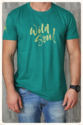 Men's 'Wild Soul' Crew Neck T-shirt - Emerald D31)