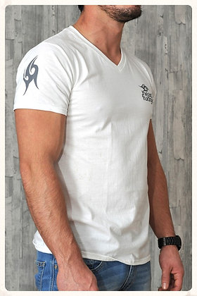 Men's V Neck T-shirt - White (D05)
