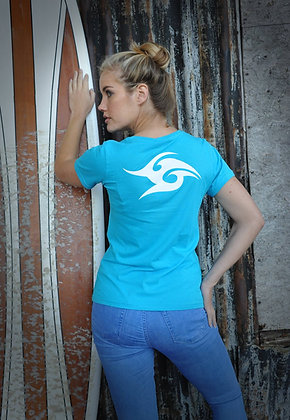 Women's Wave V Neck T-shirt - Caribbean Blue (D15)