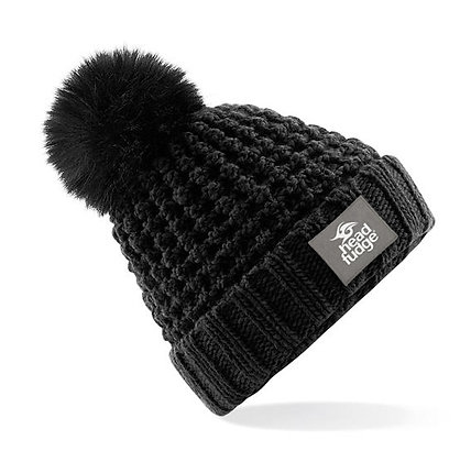 Chunky Knit Bobble (Removable) Beanie - BLACK (D59)