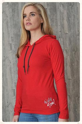 Women's 'Wild Soul' T-shirt Hoodie - Red (D30)