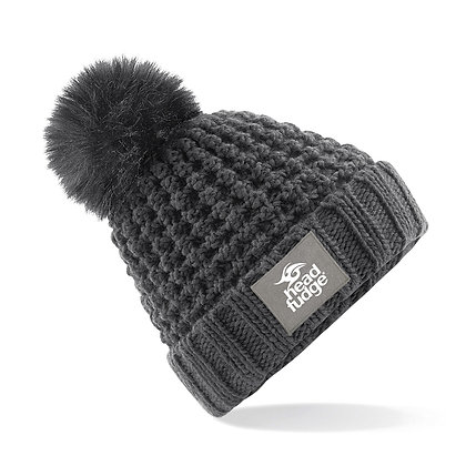 Chunky Knit Bobble (Removable) Beanie - CHARCOAL (D59)