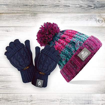 'Berry' Beanie & Mitts Bundle (RRP £35.99)