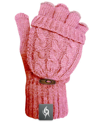 Wool Blend Fingerless Flip-top Mittens - DUSKY PINK (D60)