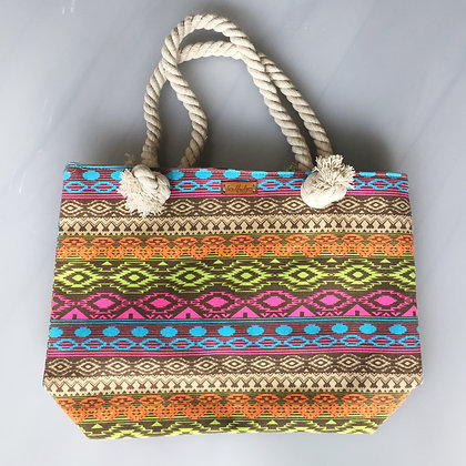 Chunky Rope Beach Bag - Summer Tans