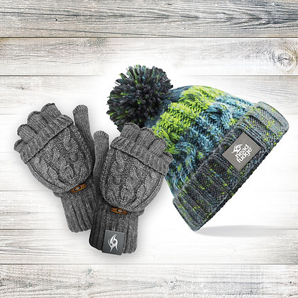 'Ocean' Beanie & Mitts Bundle (RRP £35.99)