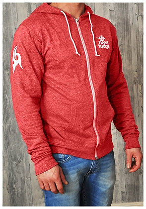Men's Lightweight Zip-up Hoodie - Red Heather (D07)