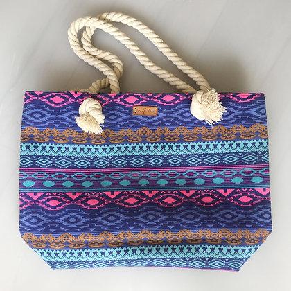 Chunky Rope Beach Bag - Beachy Blues