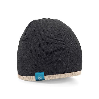 Two-tone Knitted Beanie - Black/Stone (D35)