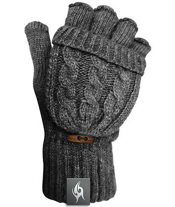Wool Blend Fingerless Flip-top Mittens - DARK GREY (D60)