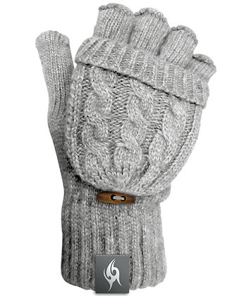 Wool Blend Fingerless Flip-top Mittens - LIGHT GREY (D60)