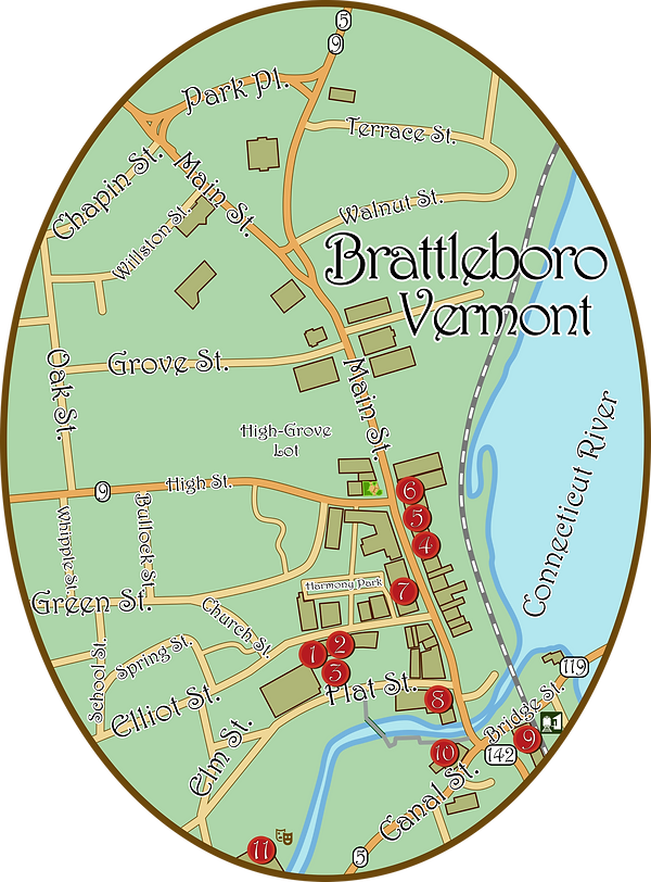 Downtown Brattleboro showing restaurants, shops, galleries, theaters and grocery stores.